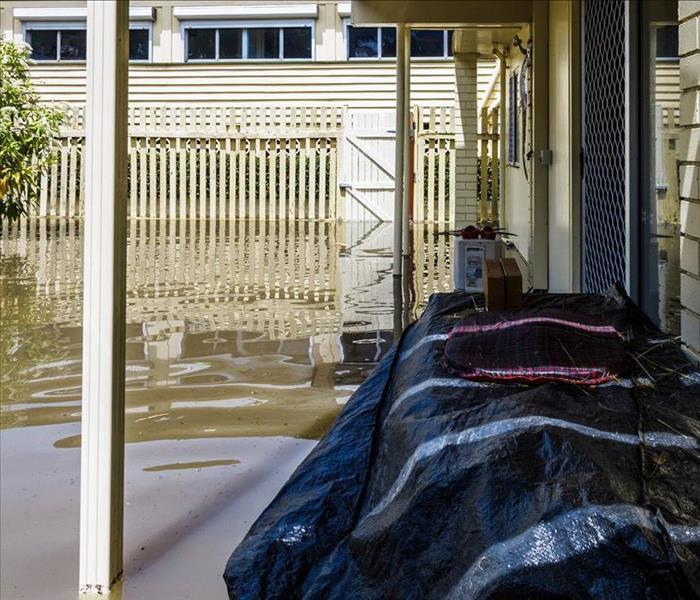 Image of a flooded backyard.